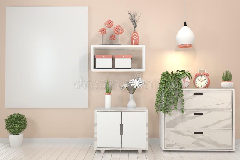 Onechte omhoog Binnenlandse affichespot omhoog met granietkabinet en houten kader op roze muur en decoratieinstallaties het 3d te stock illustratie