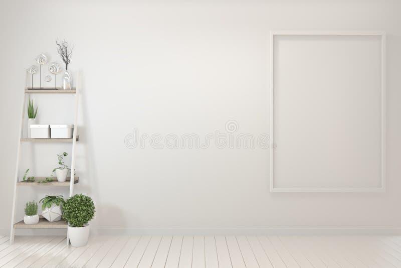 Onechte omhoog Binnenlandse affichespot omhoog met houten kader die zich op houten vloer en decoratieinstallaties bevinden het 3d stock illustratie