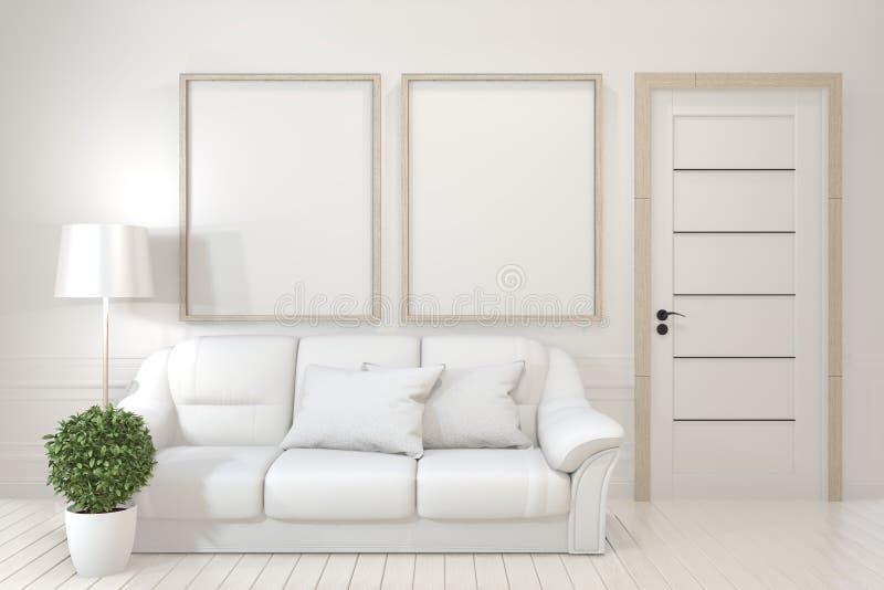 Onechte omhoog Binnenlandse affichespot omhoog met lege houten kaders, bank, installatie en lamp in lege ruimte met witte muur he stock illustratie