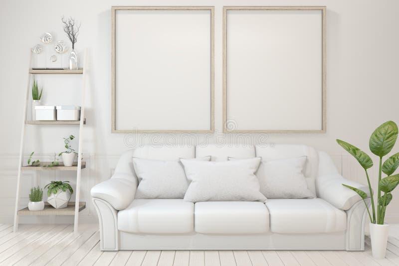Onechte omhoog Binnenlandse affichespot omhoog met lege houten kaders, bank, installatie en lamp in lege ruimte met witte muur he royalty-vrije illustratie