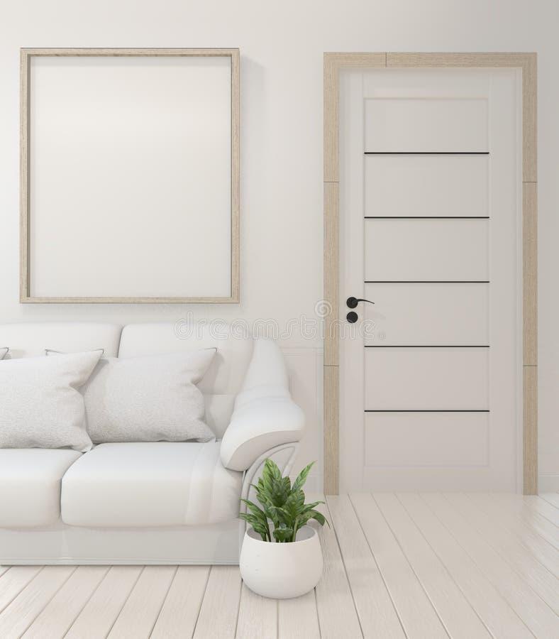 Onechte omhoog Binnenlandse affichespot omhoog met lege houten kaders, bank, installatie en lamp in lege ruimte met witte muur he vector illustratie