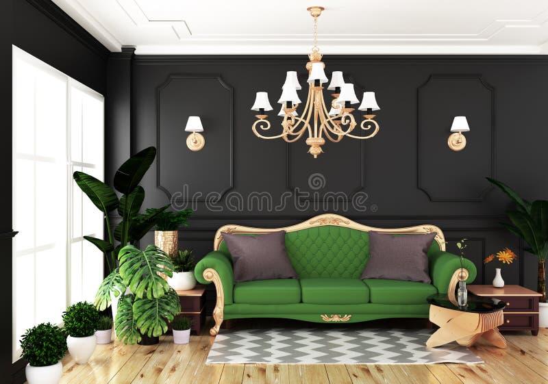 Onechte omhoog Binnenlandse het leven luxe klassieke stijl, decoratie zwarte muur op houten vloer, het 3D teruggeven stock illustratie