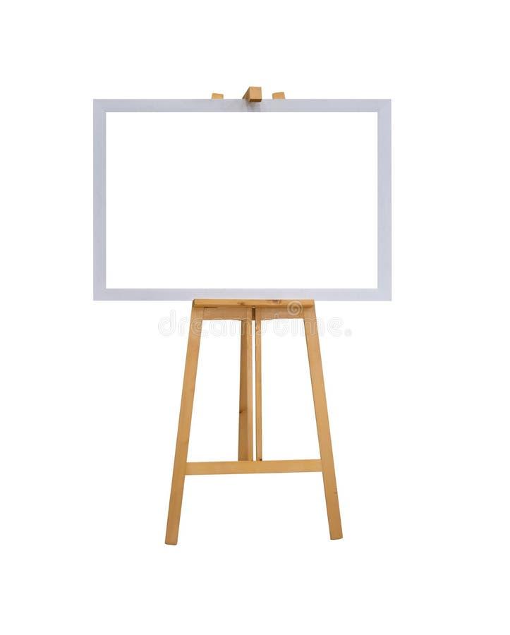 Onechte omhoog lege lege witte canvasraad met realistische houten die schildersezeltribune op witte achtergrond met het knippen v royalty-vrije illustratie