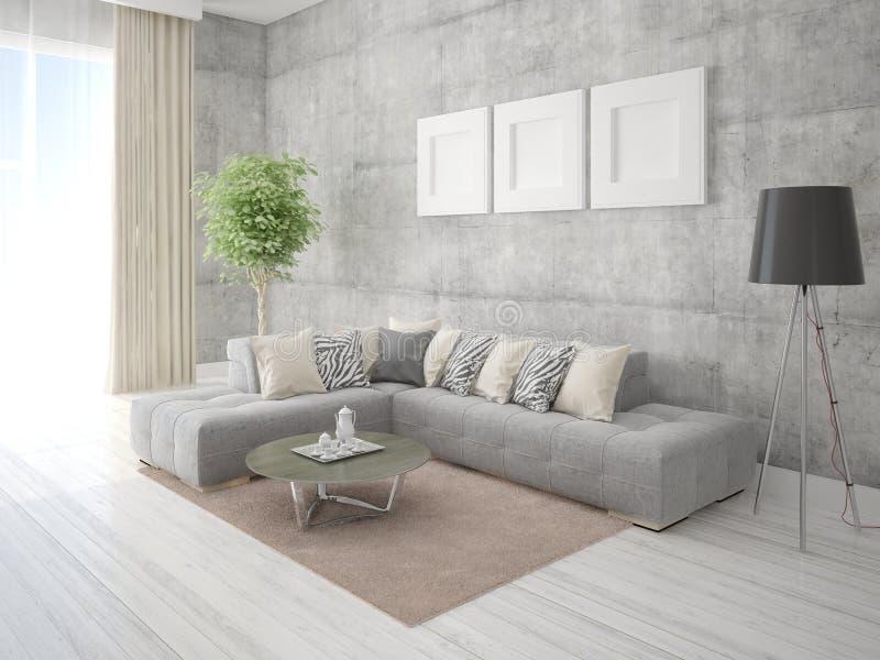 Onechte omhoog modieuze woonkamer met een modieuze hoekbank royalty-vrije illustratie