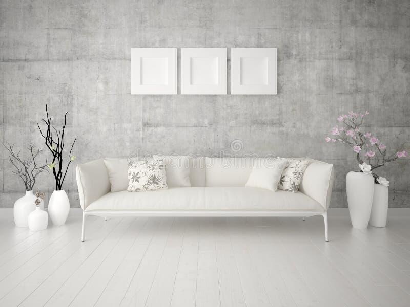 Onechte omhoog originele woonkamer met een klassieke lichte bank vector illustratie