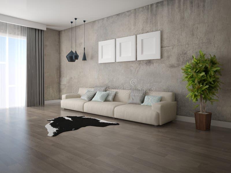 Onechte omhoog originele woonkamer met een modieuze comfortabele bank royalty-vrije illustratie