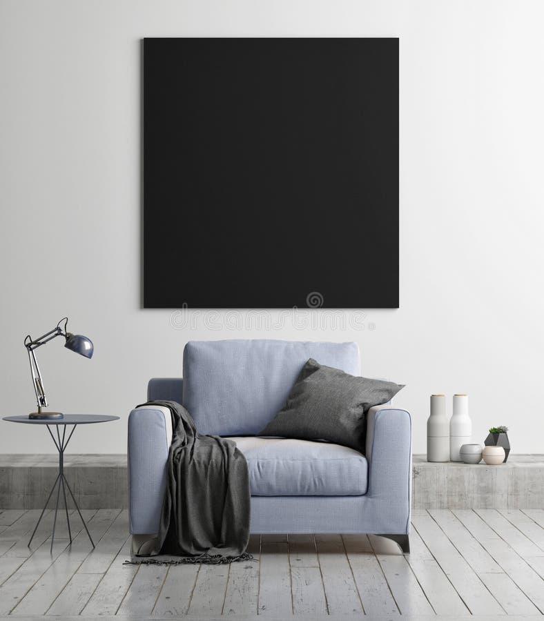 Onechte omhoog zwarte affiche met leunstoel, conceptenwoonkamer, vector illustratie