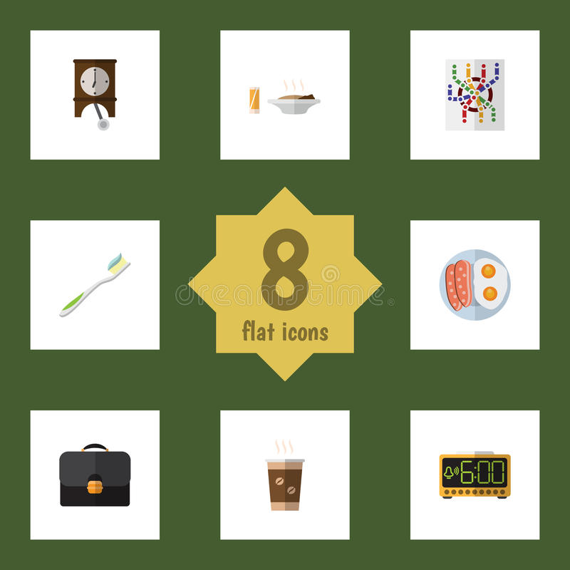 Oneday uppsättning för plan symbol av klocka, Fried Egg, lunch och andra vektorobjekt Inkluderar också Tid, routeren, klockpendel stock illustrationer