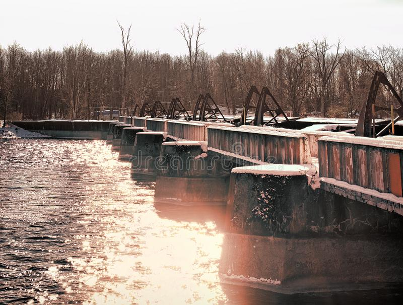 Oneida River Caughdenoy Dam arkivfoto