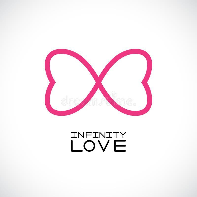 Oneindig liefdesymbool eindeloos symbool Twee harten Vector illustratie stock illustratie