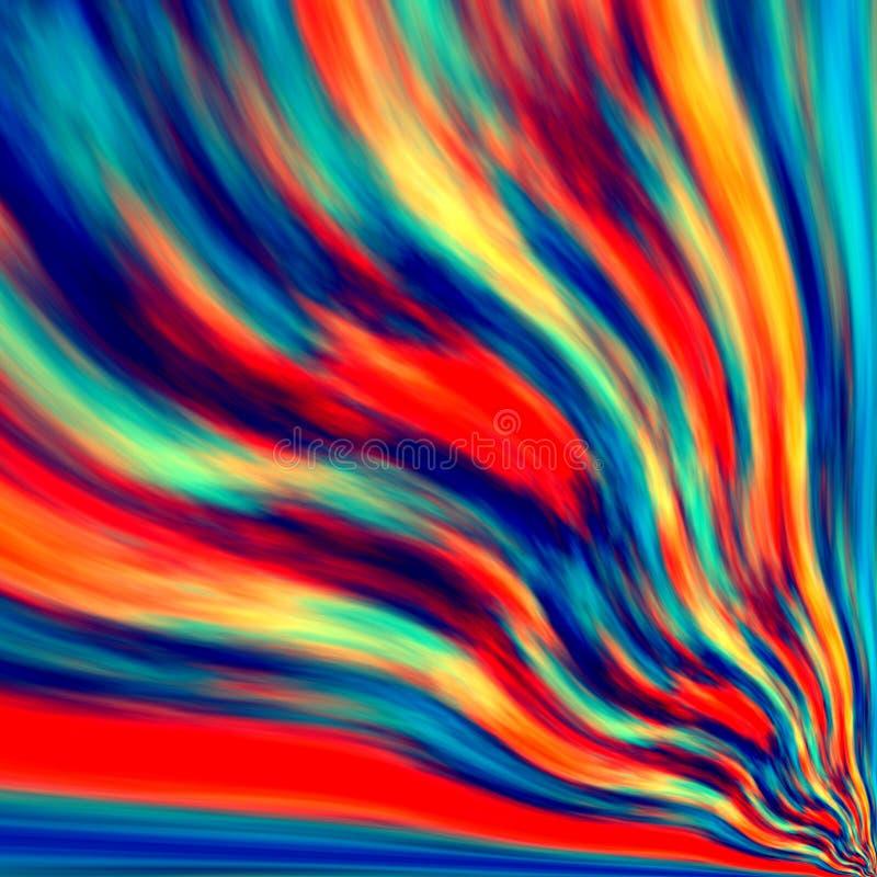 Oneindig ontwerp als achtergrond Ventilatorstaart Blauw oranjerood kleurenmengsel Windvorm Vouwvorm Golvend slordig plasma Cyberk vector illustratie