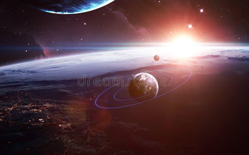 Oneindige ruimteachtergrond met nebulas en sterren Dit die beeldelementen door NASA worden geleverd stock foto's