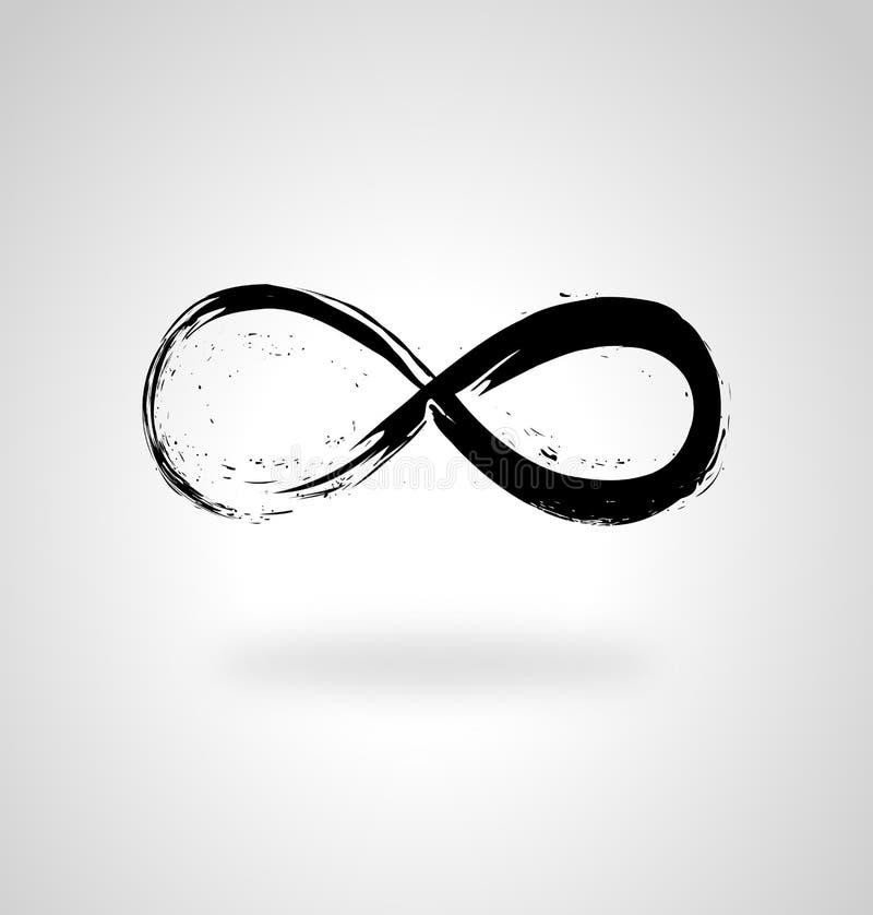 Oneindigheid liefde en eeuwig symbool Eindige streep penseelstreek met symbool voor oneindigheid royalty-vrije illustratie