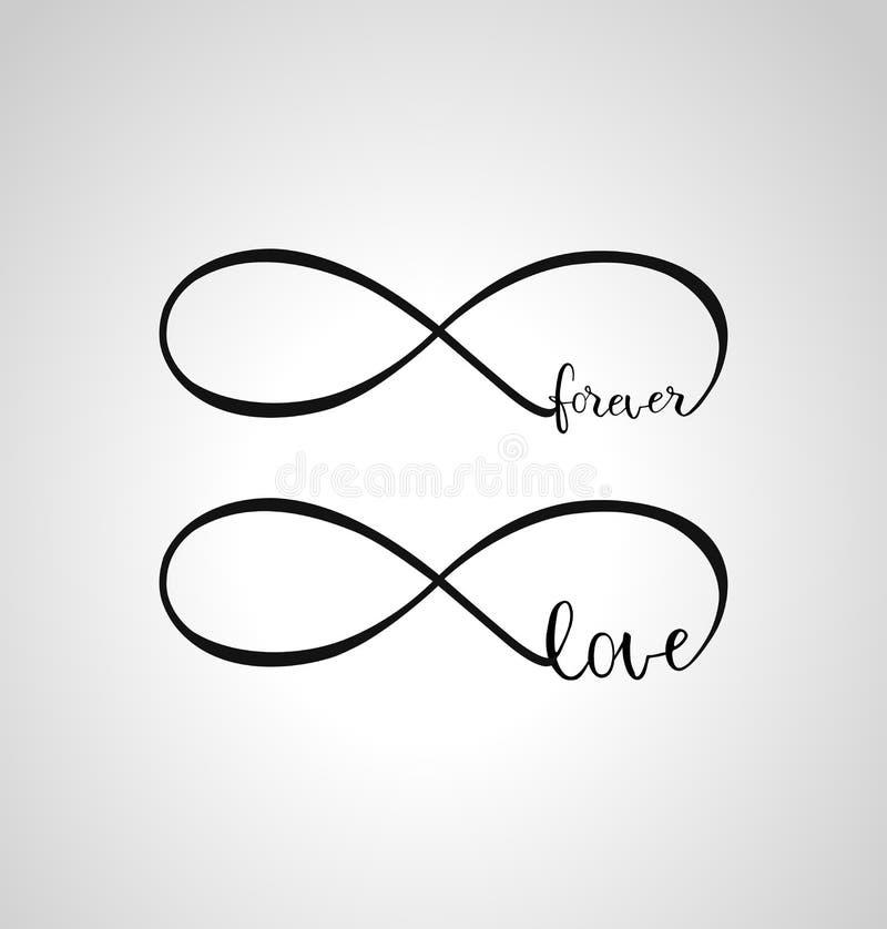 Oneindigheid liefde en eeuwig symbool stock illustratie