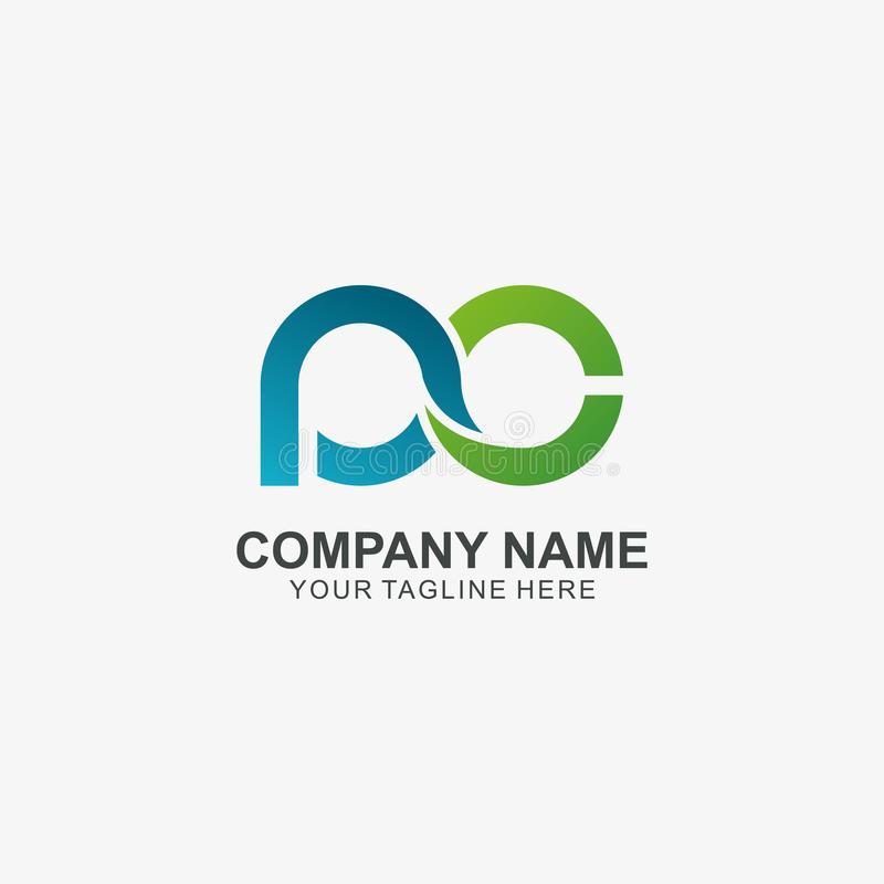 Oneindigheidsbrief P & c-embleempictogram, Aanvankelijk die Embleem voor uw Bedrijf wordt gebruikt royalty-vrije illustratie