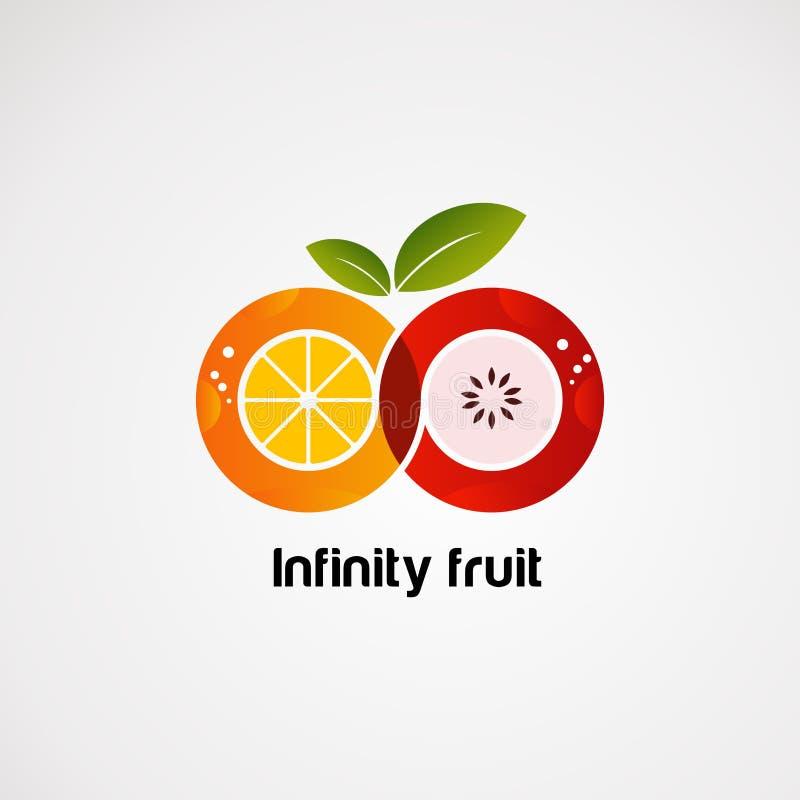 Oneindigheidsfruit met de kleurrijke vector, het pictogram, het element, en het malplaatje van het conceptenembleem voor bedrijf royalty-vrije illustratie