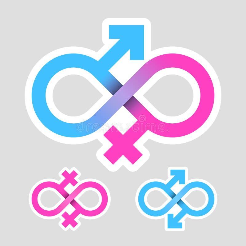 Oneindigheidsliefde, geslachtssymbolen vector illustratie