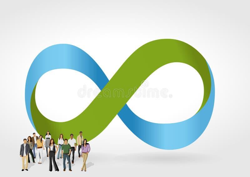Download Oneindigheidssymbool Met Bedrijfsmensen Vector Illustratie - Illustratie bestaande uit businesswoman, achtergrond: 54085658