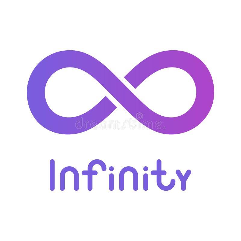 Oneindigheidssymbool of teken oneindig pictogram onbegrensd embleem Ge?soleerd op donkerblauwe achtergrond stock illustratie