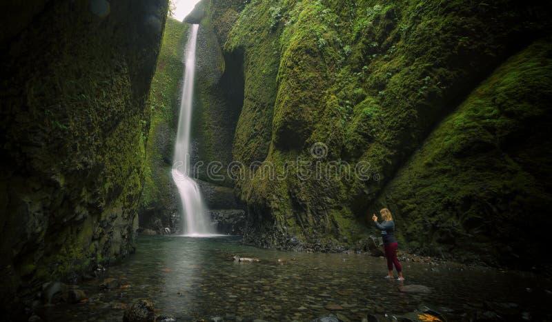 Oneonta inférieur tombe cascade située dans la gorge occidentale, Orégon image stock