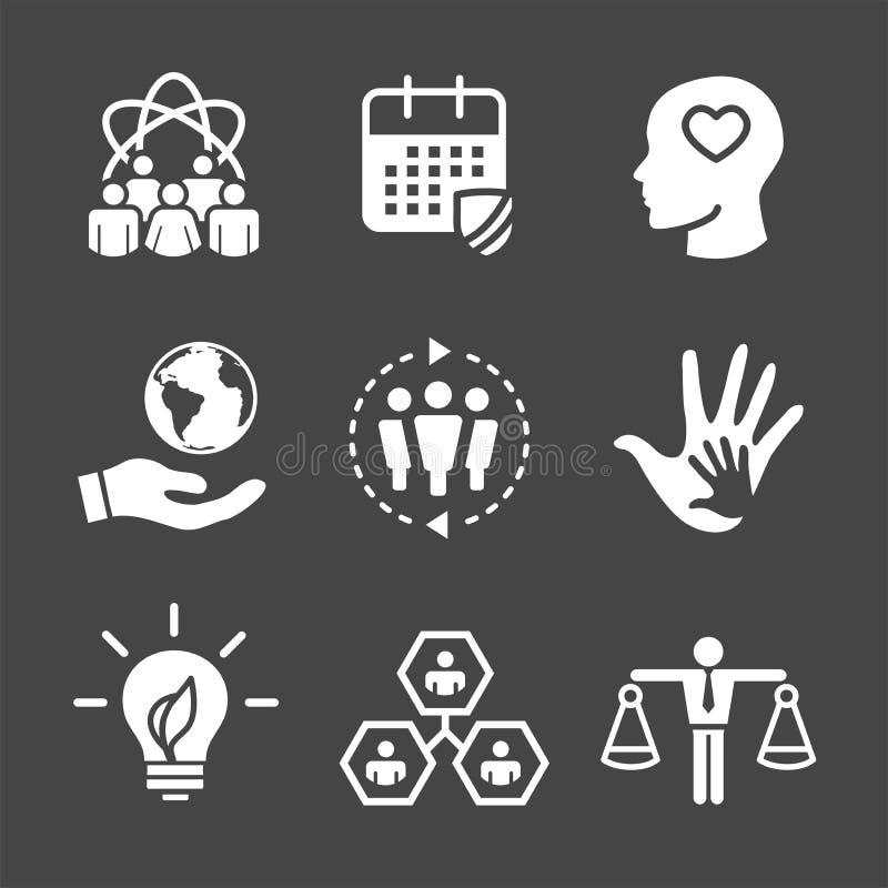 Onestà stabilita, integrità, & passo dell'icona solida w di responsabilità sociale royalty illustrazione gratis