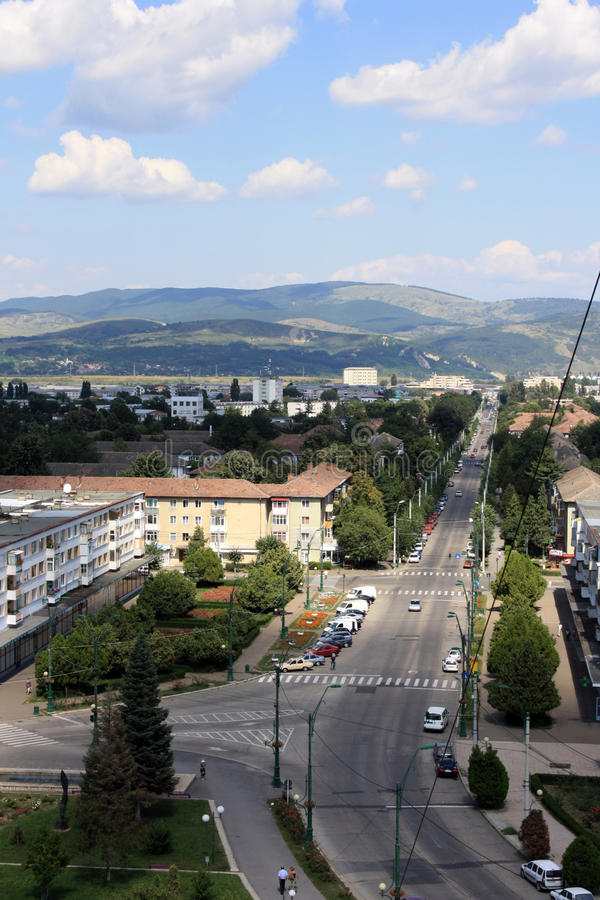 Onesti city. (Romania), view from 8th floor of the hotel stock images