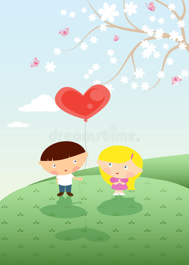 Download Сonfession of love stock vector. Image of kids, branch - 22896677