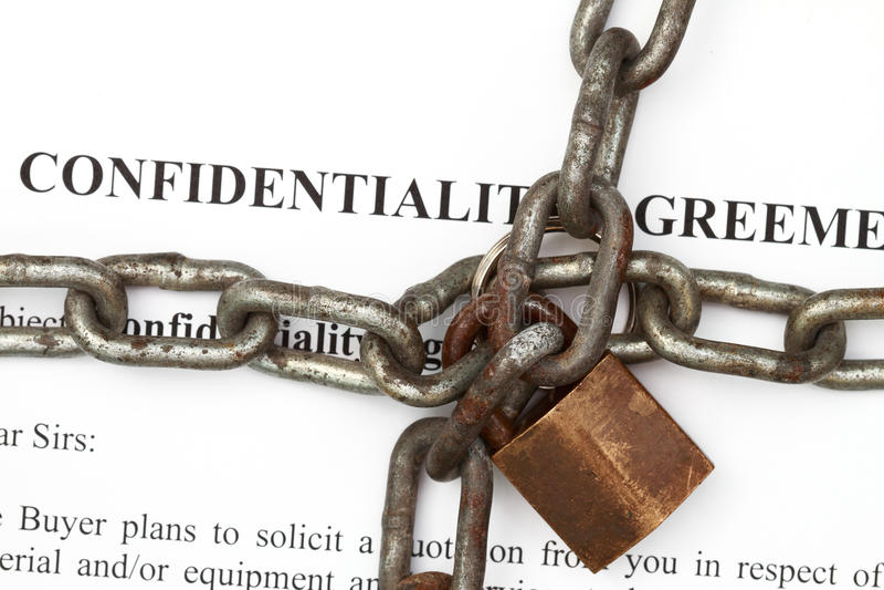 Onfidentiality Vereinbarungsauszug stockfotos