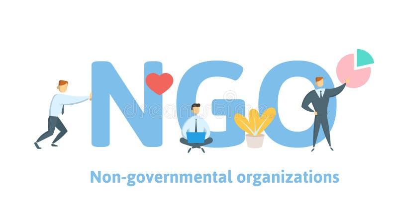 ONG, organización no gubernamental Concepto con palabras claves, letras e iconos Ejemplo plano del vector en blanco ilustración del vector