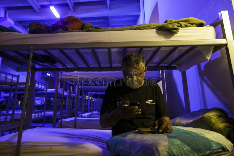 ONG Sermig - dormitorium w wieczór Brasil, San - Paolo - obraz royalty free