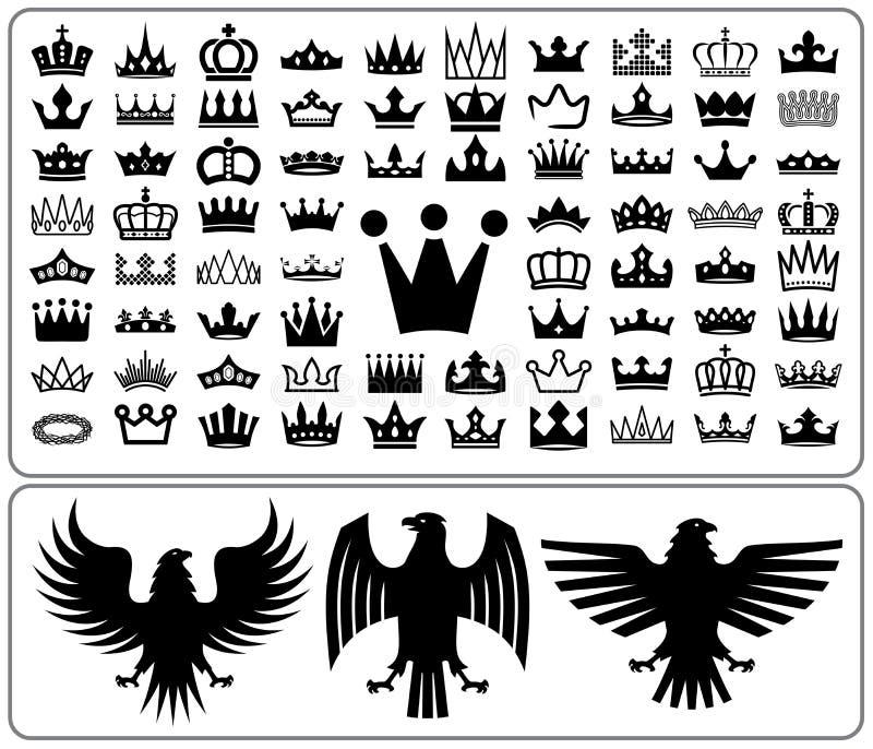 Ongebreidelde kronen en adelaar Reeks van het ontwerpinzameling van Wapenkundeelementen Vector illustratie vector illustratie