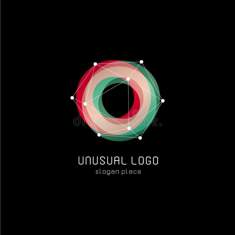 Ongebruikelijk abstract geometrisch vormen vectorembleem Cirkel, veelhoekige kleurrijke logotypes op de zwarte achtergrond vector illustratie