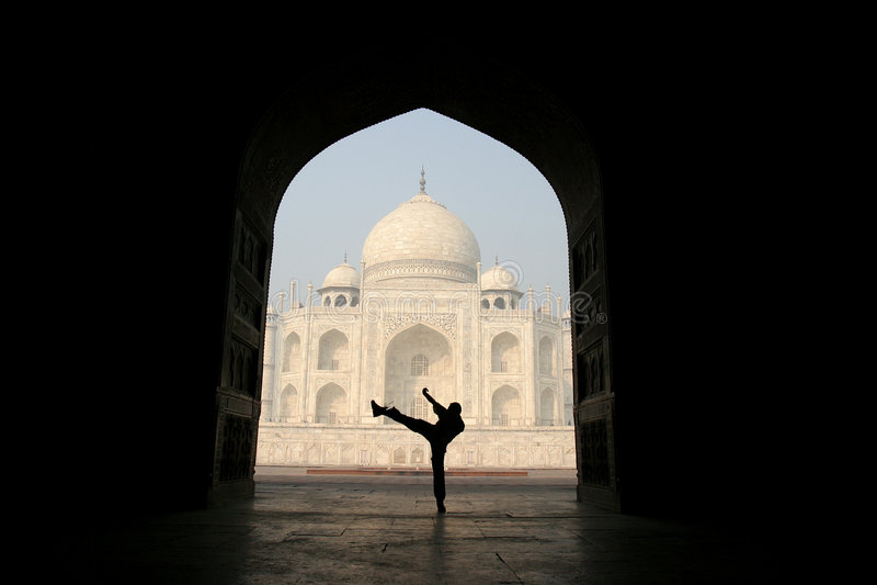 Ongebruikelijk gezicht van Taj Mahal royalty-vrije stock foto's