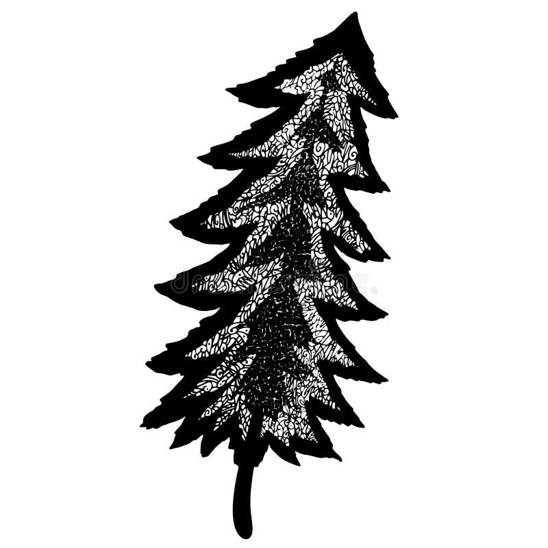 Ongebruikelijke bevallige mozaïek openwork bosboom Geheimzinnig bos hand-drawn lijnart. vector illustratie