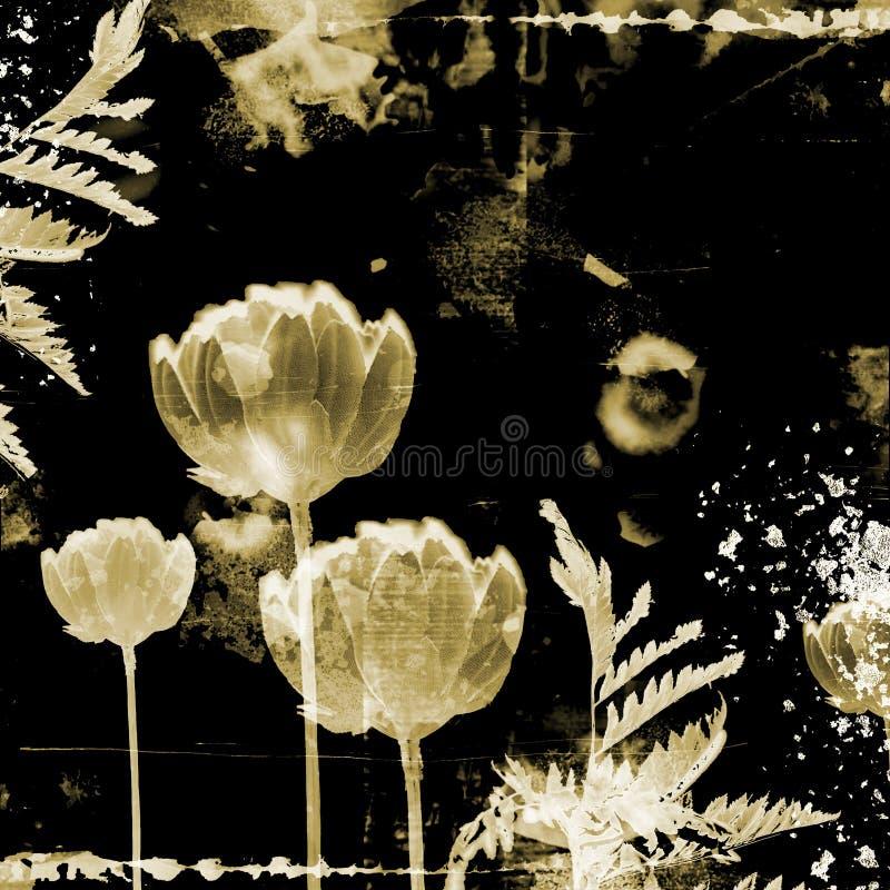 Ongebruikelijke grungeachtergrond met bloemen vector illustratie