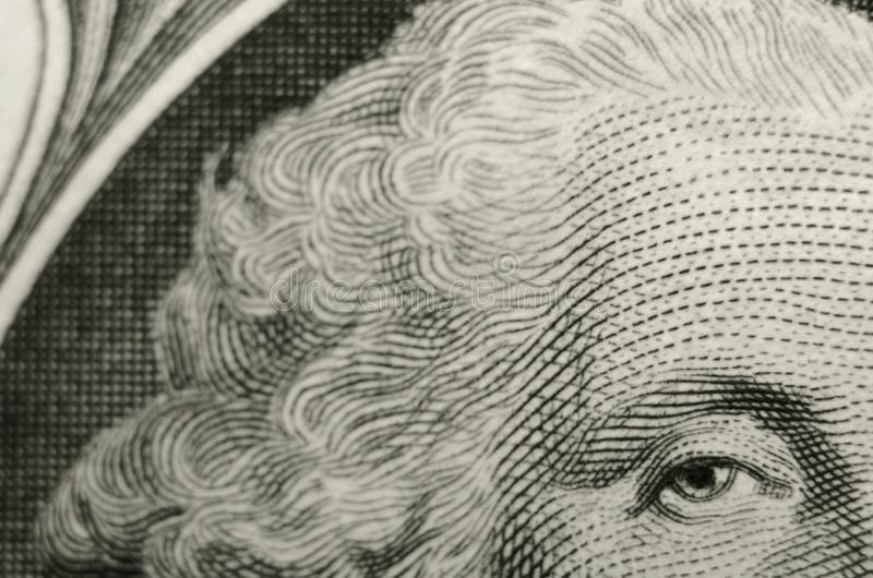 Ongebruikelijke samenstelling van voorzitter George Washington van de obvers van Amerikaanse dollarrekening royalty-vrije stock foto