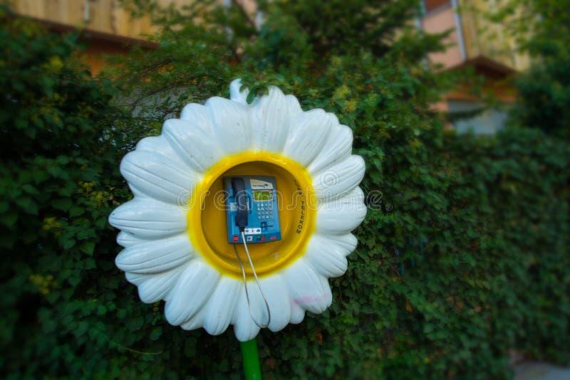 Ongebruikelijke straattelefoon in de vorm van een Madeliefjebloem Ankara, Turkije stock fotografie