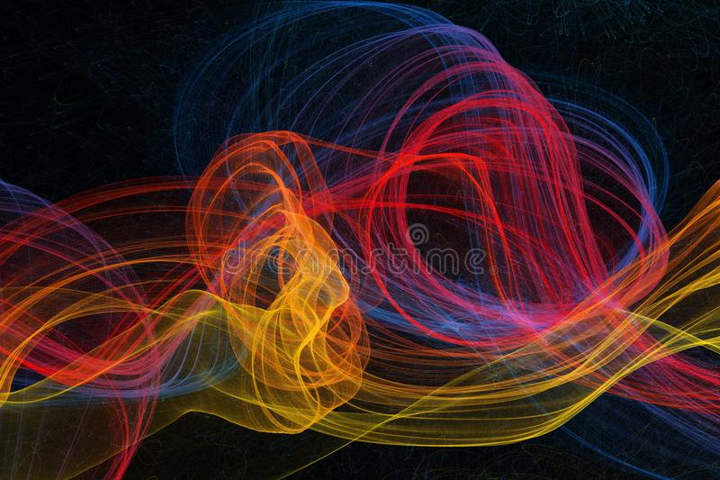 Ongebruikelijke vorm en levendige kleuren abstracte golven op donkere achtergrond stock foto
