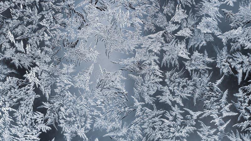 Ongebruikelijke vorst op een de wintervenster creativiteit van seizoengebonden aard stock afbeelding