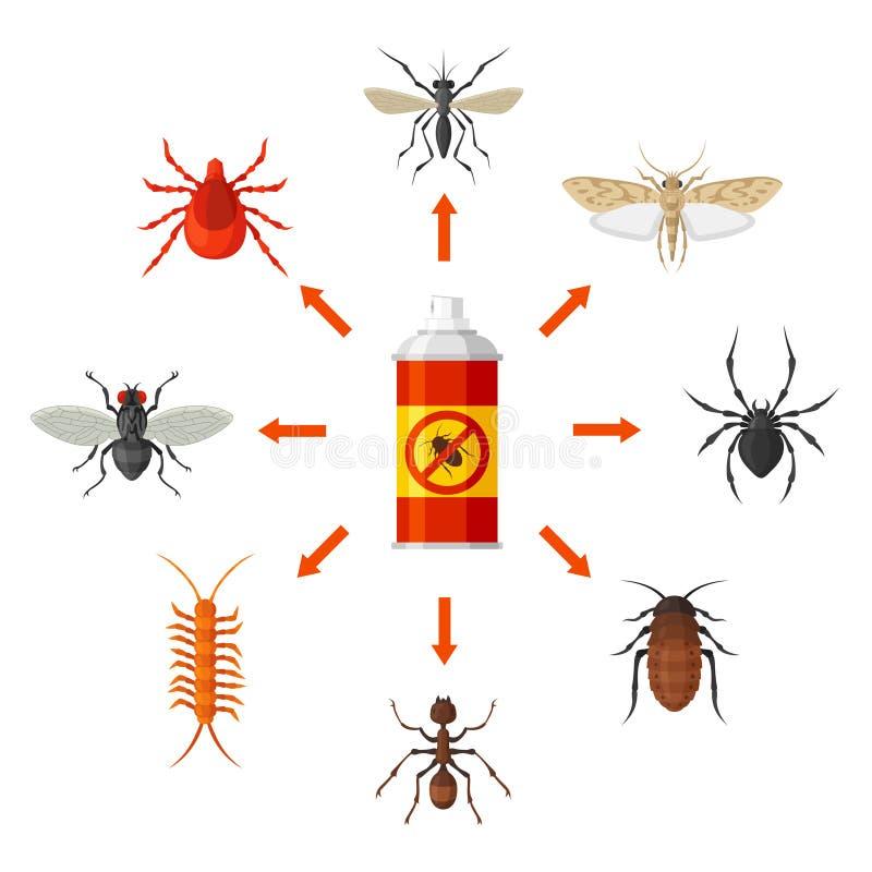 Ongediertebestrijding met insecticide vectorillustratie stock illustratie
