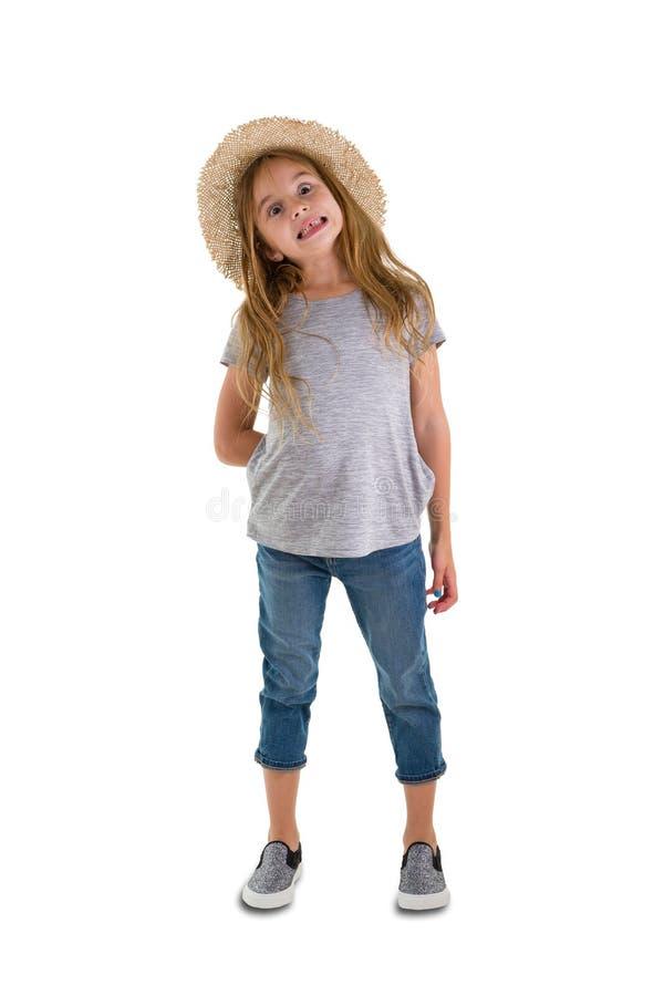 Ongeduldige leuke in weinig 6 éénjarigenmeisje royalty-vrije stock foto