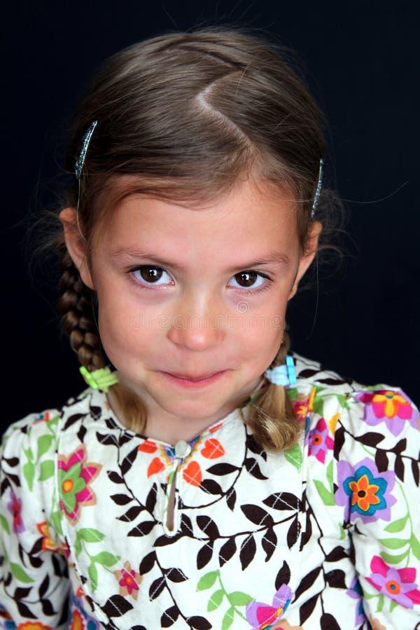Ongehoorzaam meisje met scheuren in ogen stock foto