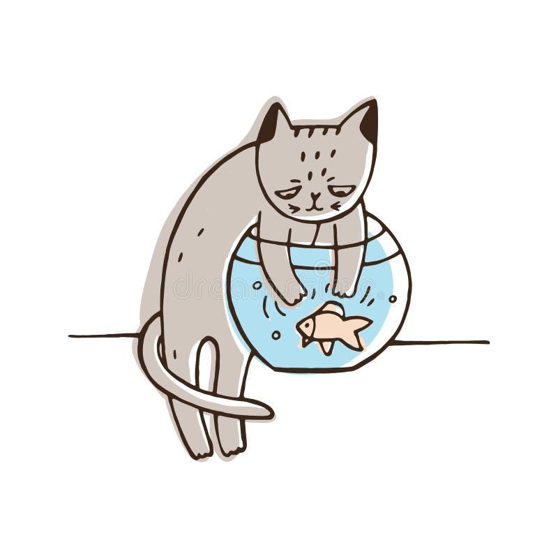 Ongehoorzame kat die aquariumvissen proberen te vangen Ongehoorzame pot die een ander die huisdier jagen op witte achtergrond wor royalty-vrije illustratie