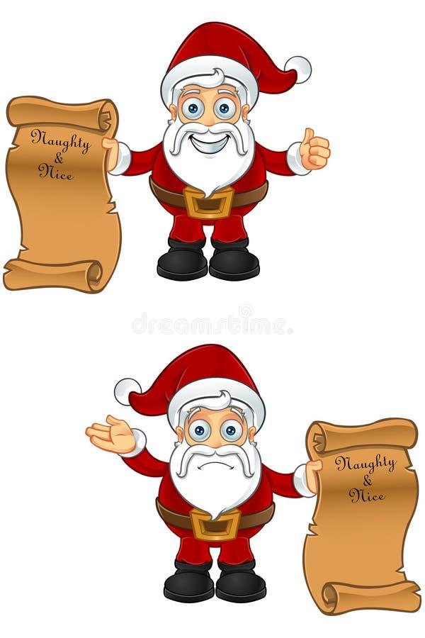Ongehoorzame Santa Character - & de Lijst van Nice vector illustratie