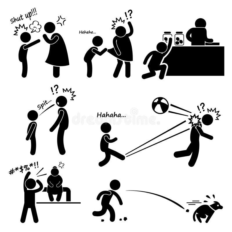 Ongehoorzame Slechte Ruwe Rebelse Jong geitjejongen royalty-vrije illustratie