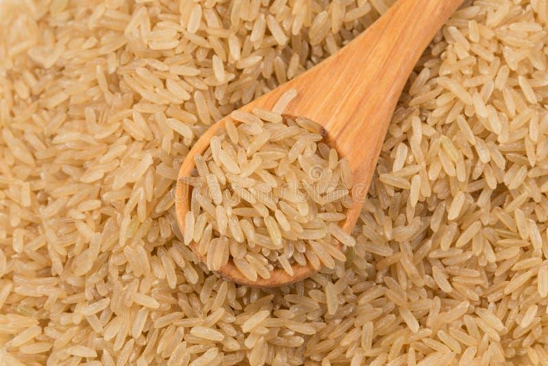 Ongekookte ongepelde rijstachtergrond stock afbeelding