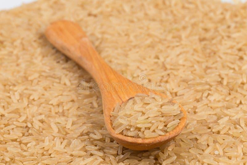 Ongekookte ongepelde rijstachtergrond stock foto's