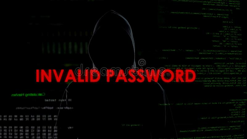 Ongeldig wachtwoord, niet succesvolle poging om systeem te barsten, cyber misdaad, het binnendringen in een beveiligd computersys royalty-vrije stock afbeeldingen