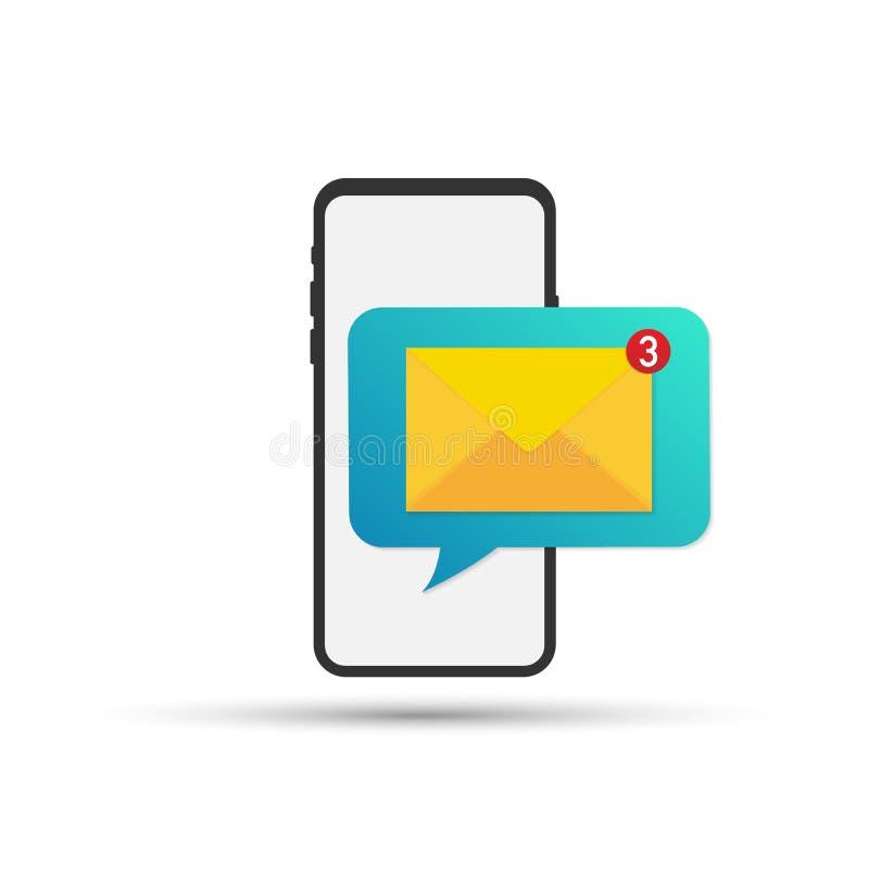 Ongelezen e-mailbericht Nieuw bericht op het smartphonescherm Vector illustratie stock illustratie
