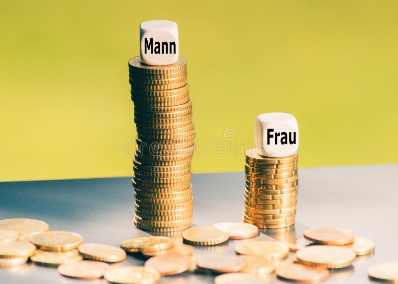 Ongelijk betalingsconcept De Duitse woorden 'Mann 'man en 'Frau vrouwen op stapels muntstukken stock foto